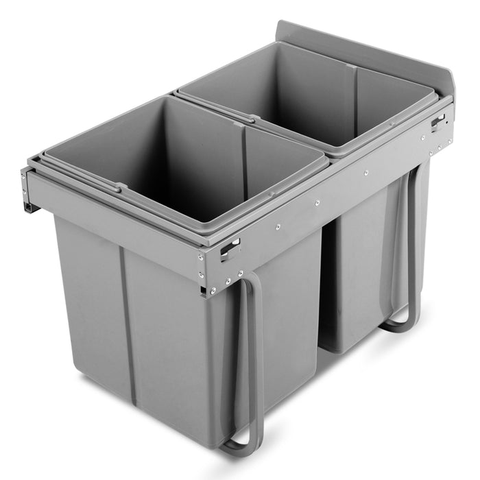 2x20L Pull Out Bin - Grey