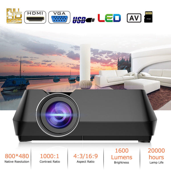 LED Home Theatre Projector, 1080P Multimedia for Home Cinema including HDMI  Connection