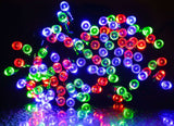 100 LED Solar Fairy Light - Red Green Blue