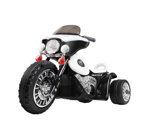 Kids Ride On Motorbike Motorcycle Toys - Black &White