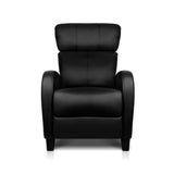 Faux Leather Armchair Recliner - Black