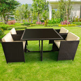 5pc PE Rattan Cube Dining Garden Set
