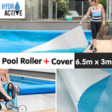 500micron Swimming Pool Roller Cover Combo - Silver/Blue - 6.5m x 3m