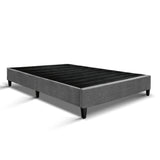 King Size Bed Base Frame Mattress Platform Fabric Wooden Grey BRISK