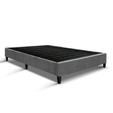 King Single Size Bed Base Frame Mattress Platform Grey Fabric Wooden