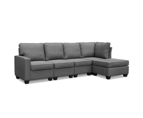 Sofa Lounge Set 5 Seater Modular Chaise Chair Suite Couch Fabric - Grey