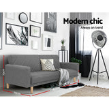 Sofa Bed Lounge 3 Seater Futon Couch Wood Furniture Grey Fabric 193cm