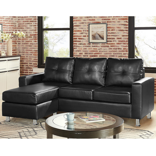 Corner Sofa Lounge Couch with Chaise - Black