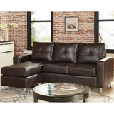 Corner Sofa Couch with Chaise - Brown