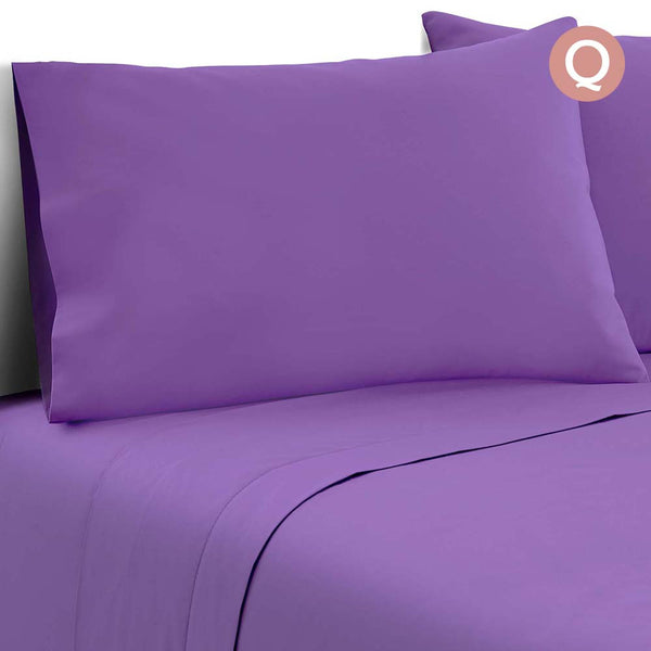 4 Piece Microfibre Sheet Set Queen – Purple