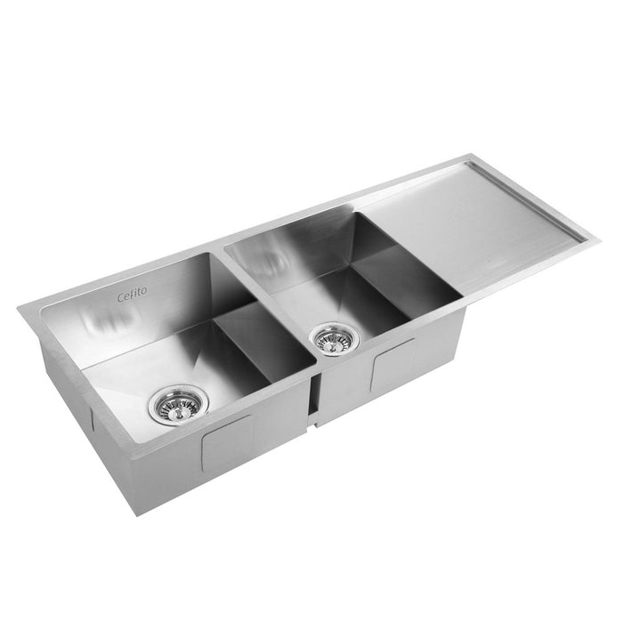 Stainless Steel Kitchen Sink 111X45CM Under/Topmount Laundry Double Bowl Silver