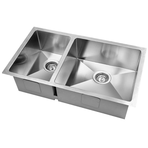 Stainless Steel Kitchen Sink 710X450MM Under/Topmount Laundry Double Bowl Silver