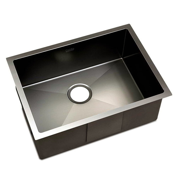 Kitchen Sink with Waste Strainer Black - 60 x 45cm
