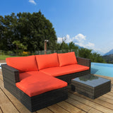 Malibu 3pc Outdoor Sofa Furniture Set with Chaise - Orange