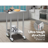 430 Stainless Steel Kitchen Benches Work Bench Food Prep Table with Wheels 610MM x 610MM
