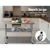 430 Stainless Steel Kitchen Benches Work Bench Food Prep Table with Wheels 1219MM x 610MM