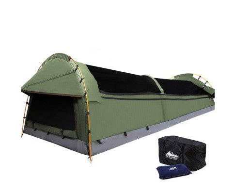 King Single Swag Camping Swag Canvas Tent - Celadon