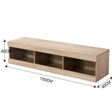 150cm TV Cabinet Entertainment Unit Stand LED Lowline Oak Colour