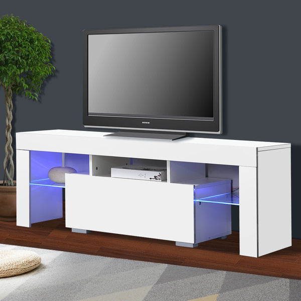 Wooden TV Cabinet LED Lowline Shelf in White