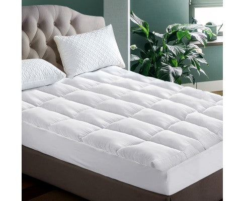 Giselle King Single Mattress Topper Pillowtop 1000GSM Microfibre Filling Protector