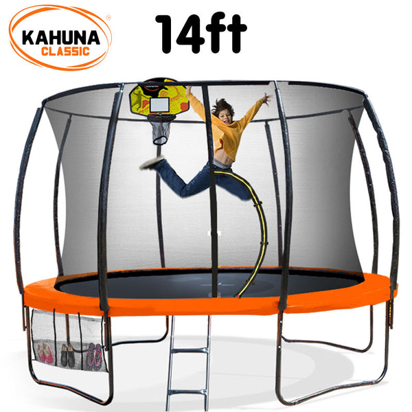 Kahuna Trampoline 14 ft with Basketball set - Orange