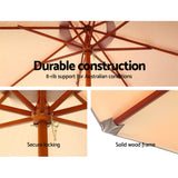 Outdoor Umbrella Pole Umbrellas 3M with Base Garden Stand Deck Beige