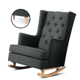 Rocking Armchair Feeding Chair Fabric Armchairs Lounge Recliner Charcoal