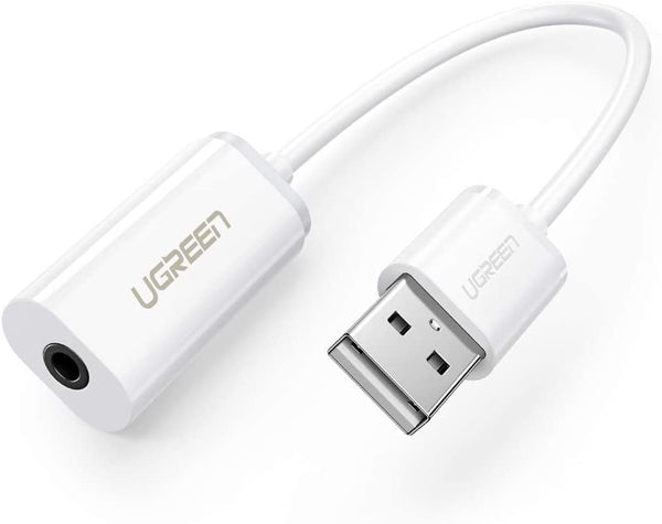 UGREEN USB A Male to 3.5 mm Aux Cable (White)