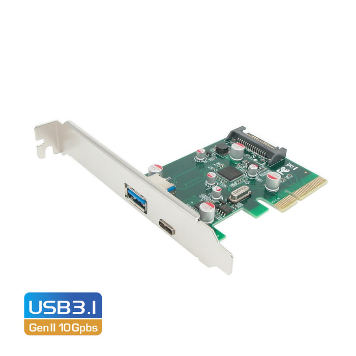 Simplecom EC312 PCI-E 2.0 x4 to 2 Port SuperSpeed+ USB 3.1 Gen II 10Gpbs Type-C and Type-A Host Expansion Card