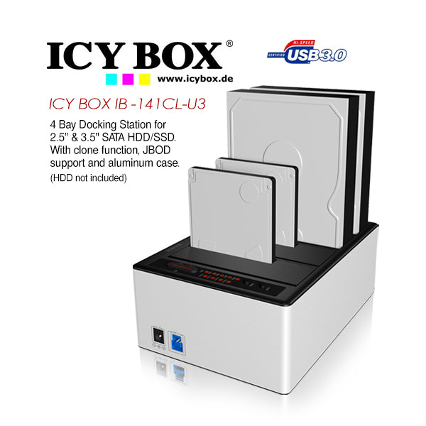 ICY BOX (IB -141CL-U3) 4 Bay Docking Station for 2.5 Inch & 3.5 Inch SATA HDD/SSD. With clone function, JBOD support and aluminum case