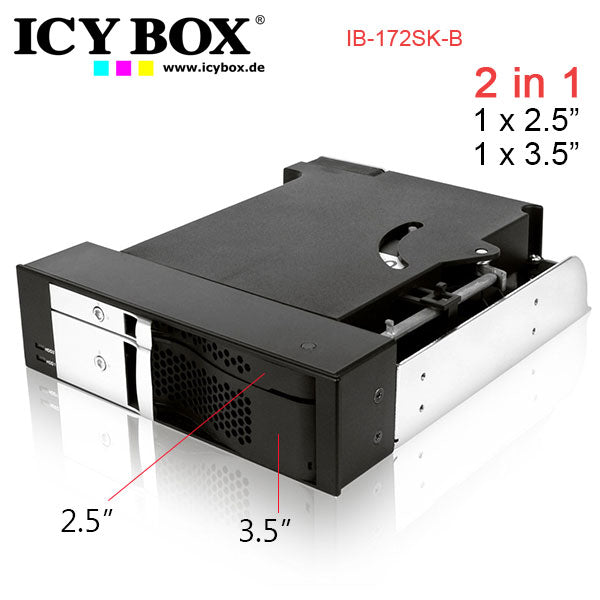 ICYBOX IB-172SK-B, TWO IN ONE , 2Bay Mobile Rack for 1x2.5 inc + 1x 3.5 inc SATA HDD to 2 SATA Host (1 to 1 ) in 1x 5.25 inc Bay, EasySwap, BLACK