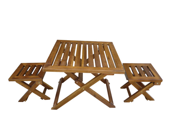 Folding Hardwood Outdoor Table And Chair Picnic Set