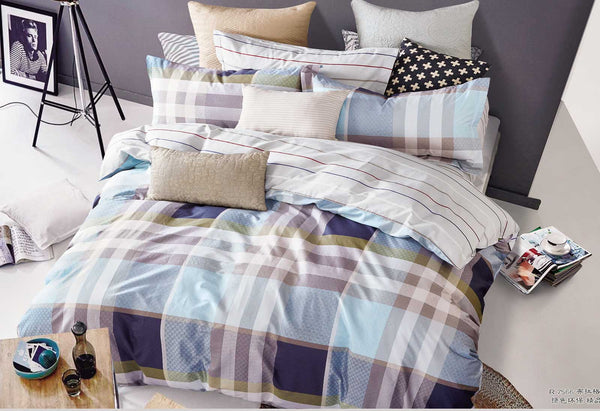 Queen Size Rectangle and Strips Pattern Quilt Cover Set(3PCS)