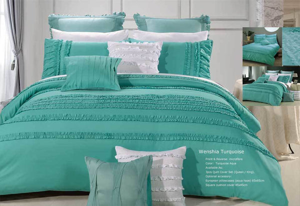 Queen Size Wenshia Turquoise Quilt Cover Set (3PCS)