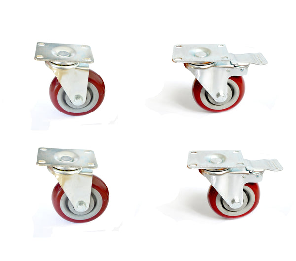 "4 x 4"" Heavy Duty PU Swivel Castor Wheels With Brake"