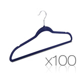 Set of 100 Slim Navy Velvet Hangers