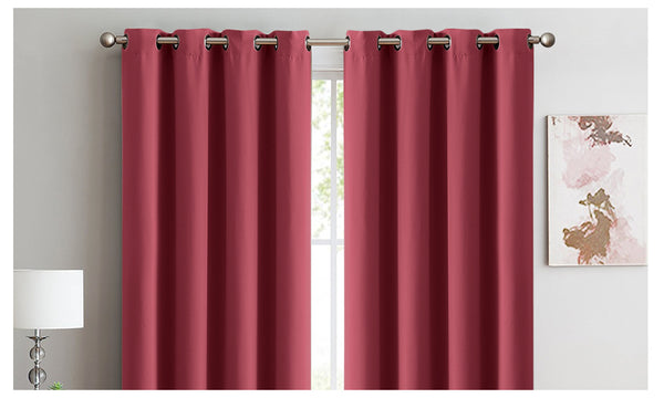 2X 100% Blockout Curtains Panels 3 Layers Eyelet WINE 240X230cm