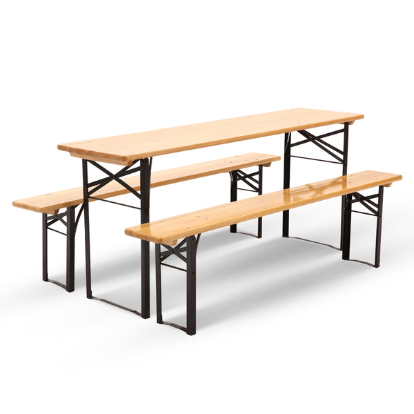 Wooden Outdoor Foldable Bench Set - Natural