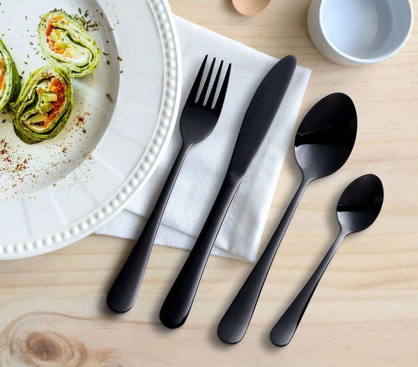 16 Piece Black Stainless Steel Cutlery Set