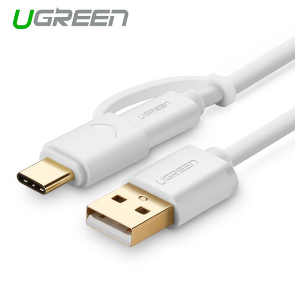 UGREEN USB 2.0 to type C + micro USB cable 1M White