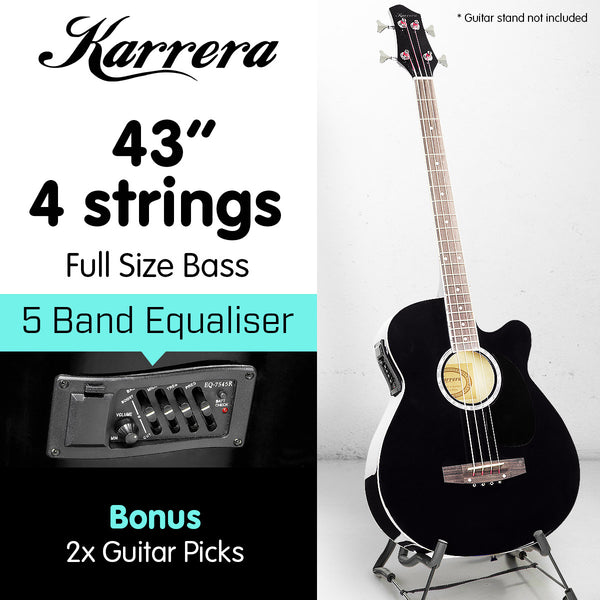 Karrera 43in Acoustic Bass Guitar - Black