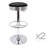 Set of 2 PU Leather Backless Bar Stools - Black