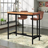 Vintage Industrial Wood Bar Table Kitchen Cafe Office Desk Steel Legs