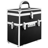 Portable Cosmetic Beauty Carry Case Box Black w/ Mirror