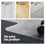 Computer Office Chair Mat Hard Floor Carpet Protector Vinyl Plastic 1200mm x 900mm