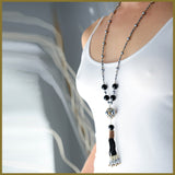 Black Beaded Tassel and Hematite