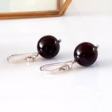 Gem Ball Earrings - Garnet Wire Wrapped