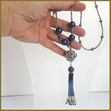 Blue Beaded Tassel Hematite