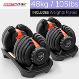 Pair Powertrain 24kg (ea) Adjustable Dumbbell Sets