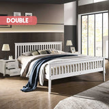 Wooden Bed Frame in White - Double